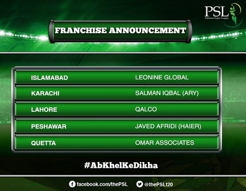 5 Franchise partners named for Pakistan Super League.