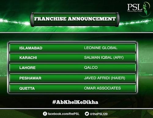 5 Franchise named for Pakistan Super League