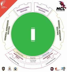 Dubai International Stadium seating plan for MCL matches.