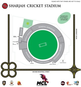 Sharjah Cricket Stadium seating plan for MCL matches.