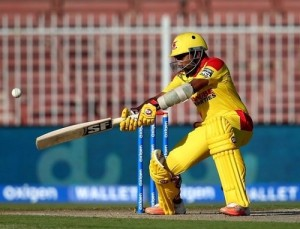 Jayawardene playing a shot during MCL 2016 first hundred.