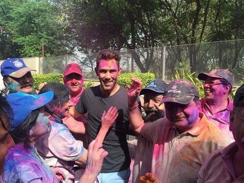 Australia's Maxwell playing holi in Chandigarh.