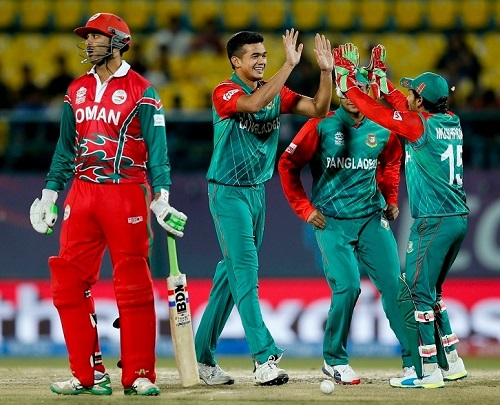Bangladesh beat Oman to qualify for super-10 in wt20.