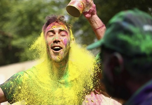 Glenn Maxwell played holi in Mohali.