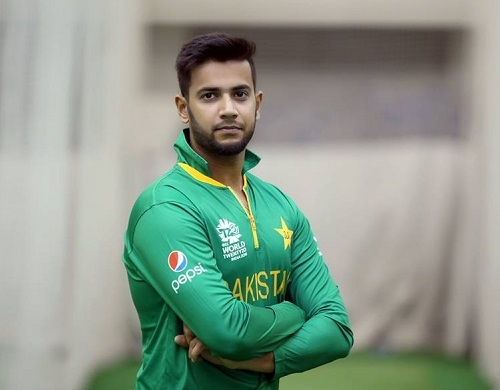 Imad Wasim wearing twenty20 world cup 2016 jersey.