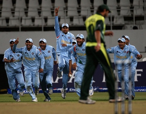 India won group match against Pakistan in 2007 world t20 bowl out.
