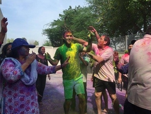 Maxwell did Bhangra during holi festival.