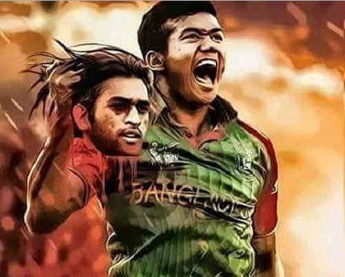 Taskin Ahmed holding MS Dhoni chopped head.
