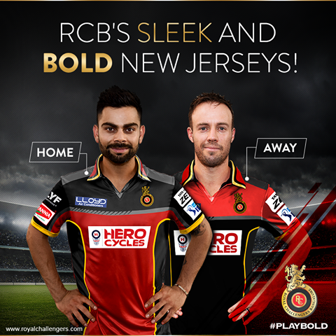 RCB launches home and away kits for IPL 9.