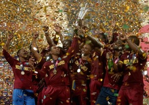 West Indies beat England to win second World T20 trophy.