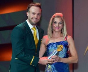 AB De Villiers with his mother during ICC event.