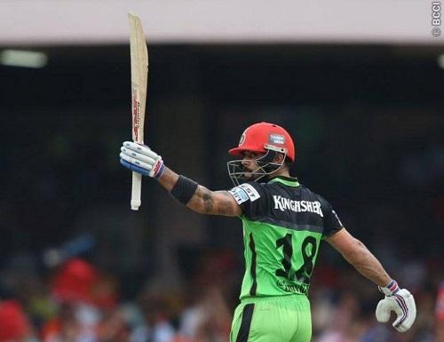 Virat Kohli becomes first batsman to hit 3 tons in an IPL season.