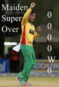 Sunil Narine bowled first maiden super over of T20 cricket.