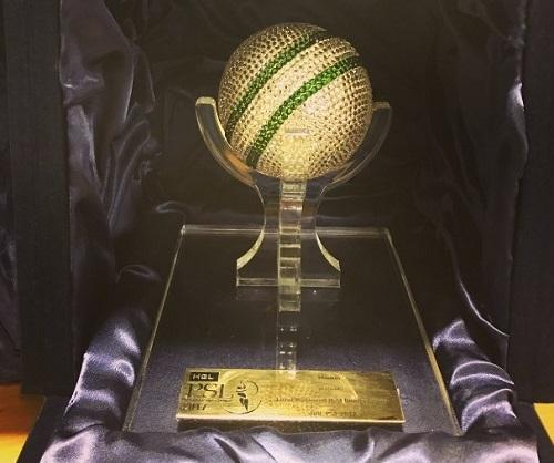 Crystallized cricket ball award for best psl 2017 bowler