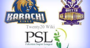 Karachi Kings vs Quetta Gladiators Live Streaming
