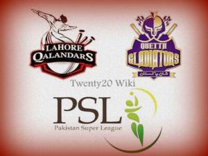 Lahore Qalandars vs Quetta Gladiators Live Stream.