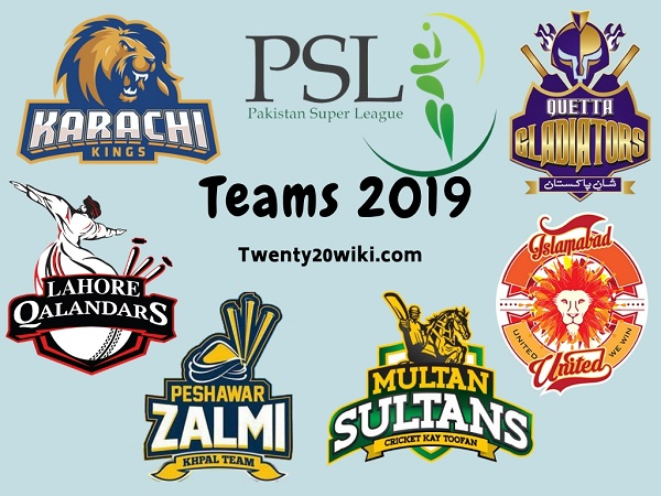 PSL 2019 Teams, Squads, Players by twenty20wiki