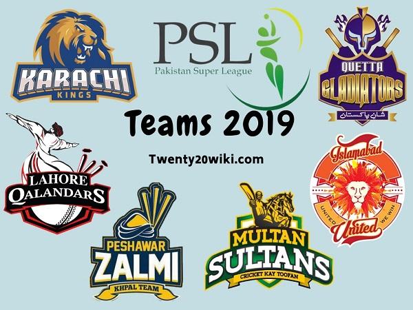 Pakistan Super League 2019 Teams, Squads