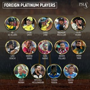 Pakistan Super League 2019 foreign platinum players list